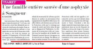 Une famille entière sauvée d'une asphyxie à Sougueur dans Revue de presse asphyxie-300x158