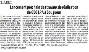TIARET Lancement prochain des travaux de réalisation de 650 LPA à Sougueur dans Revue de presse logement-2-300x176